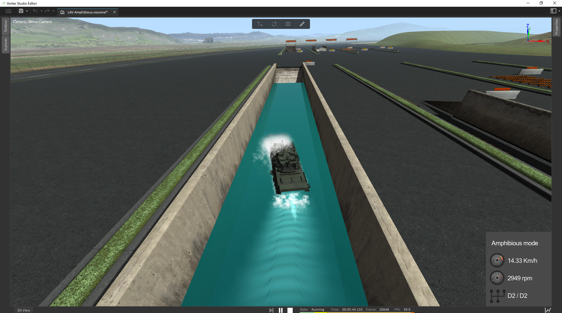 Amphibious vehicle simulation with Vortex Studio