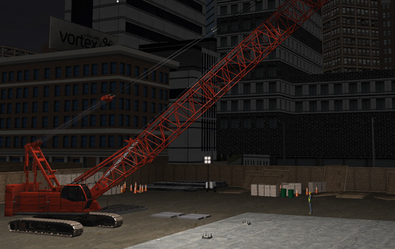 Crawler crane simulator at night