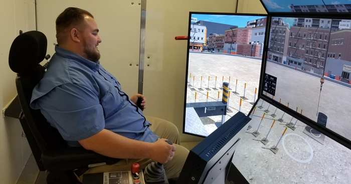 Guy using Vortex simulator training- Del Mar College
