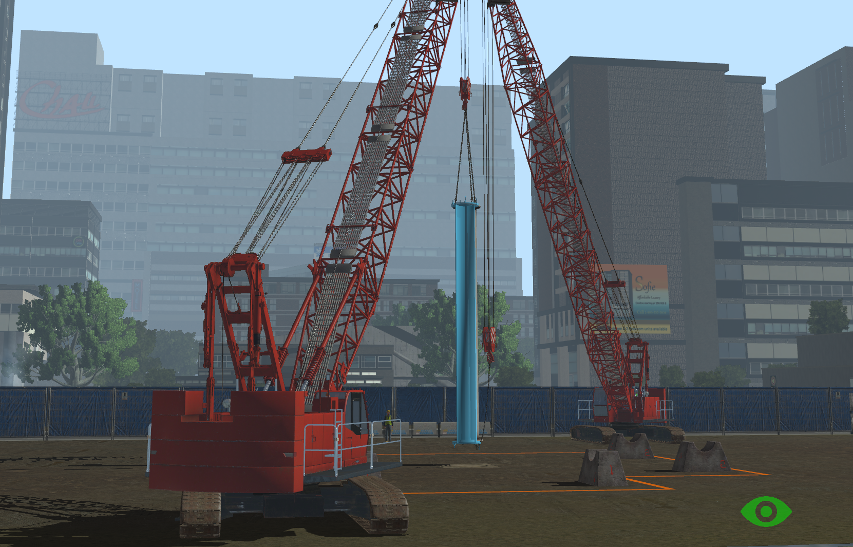 Tandem Lift Exercises on the heavy equipment Simulator