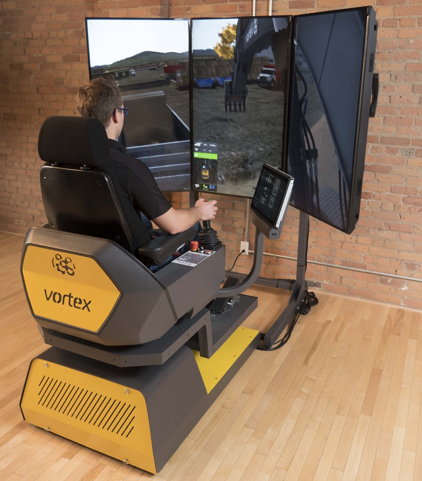 Heavy equipment simulator in action