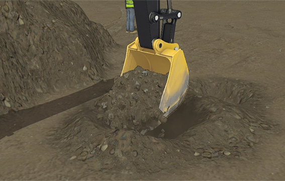 Real-time earth-moving simulation