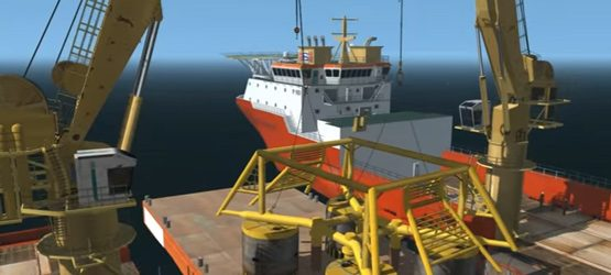 Subsea tandem lift of template using two 100T knuckle boom cranes