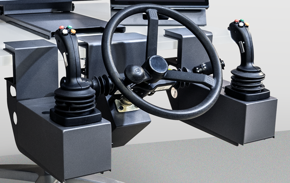 Three-Screen Vortex Trainer joystick and steering wheel