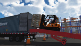 CM Labs' New Forklift Simulator Exposes Operators to Advanced Exercises like Loading a Ramp
