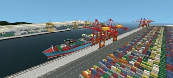 STS Crane Simulation with Straddle Carriers