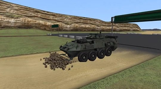 Earthmoving Simulation for Military Applications