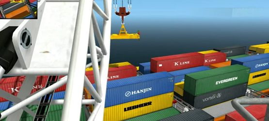 Harbour Mobile Crane Simulation with Containers