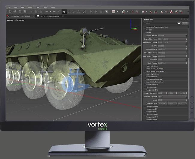 vortex studio interface modelling